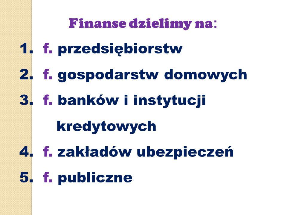 2. f. gospodarstw domowych 3. f. banków i instytucji kredytowych