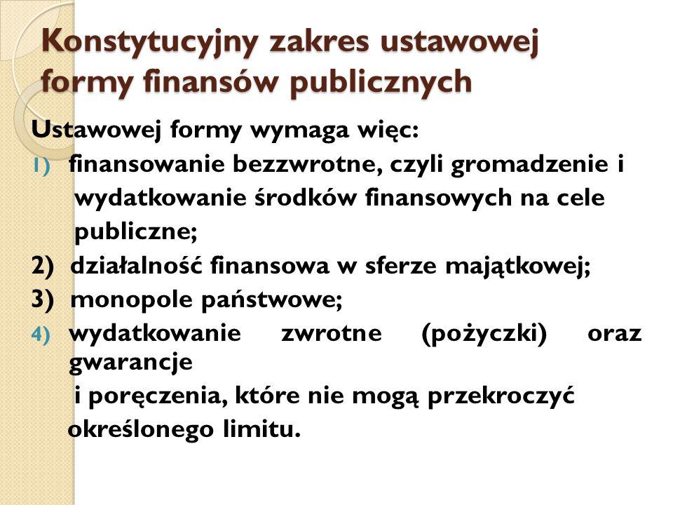 Konstytucyjny zakres ustawowej formy finansów publicznych