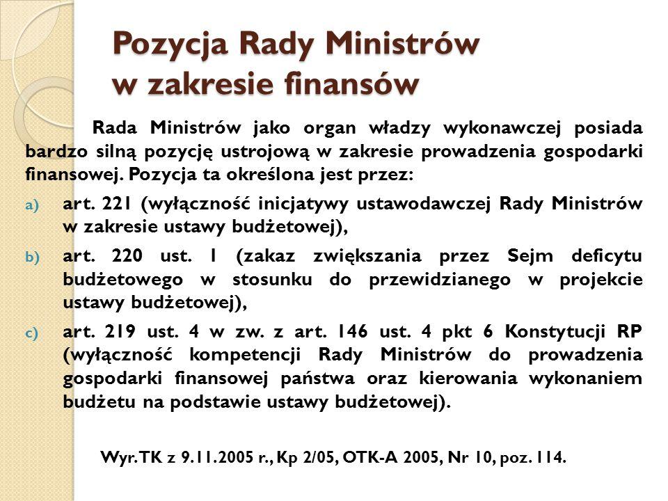 Pozycja Rady Ministrów w zakresie finansów