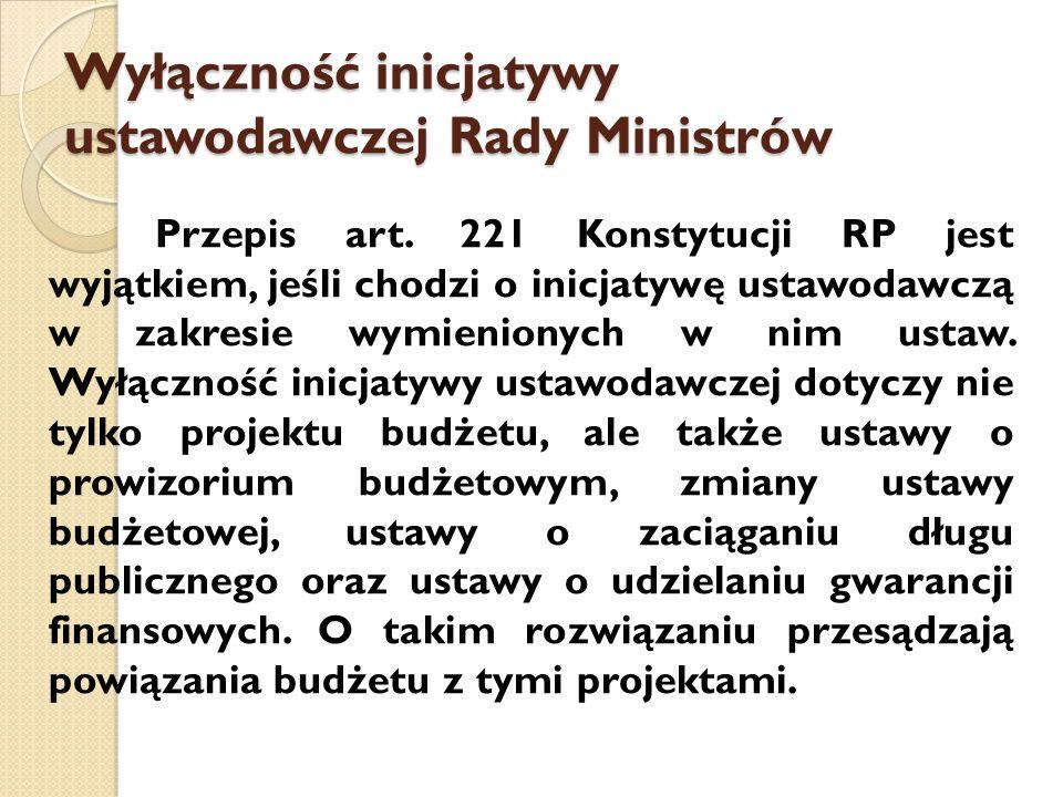 Wyłączność inicjatywy ustawodawczej Rady Ministrów