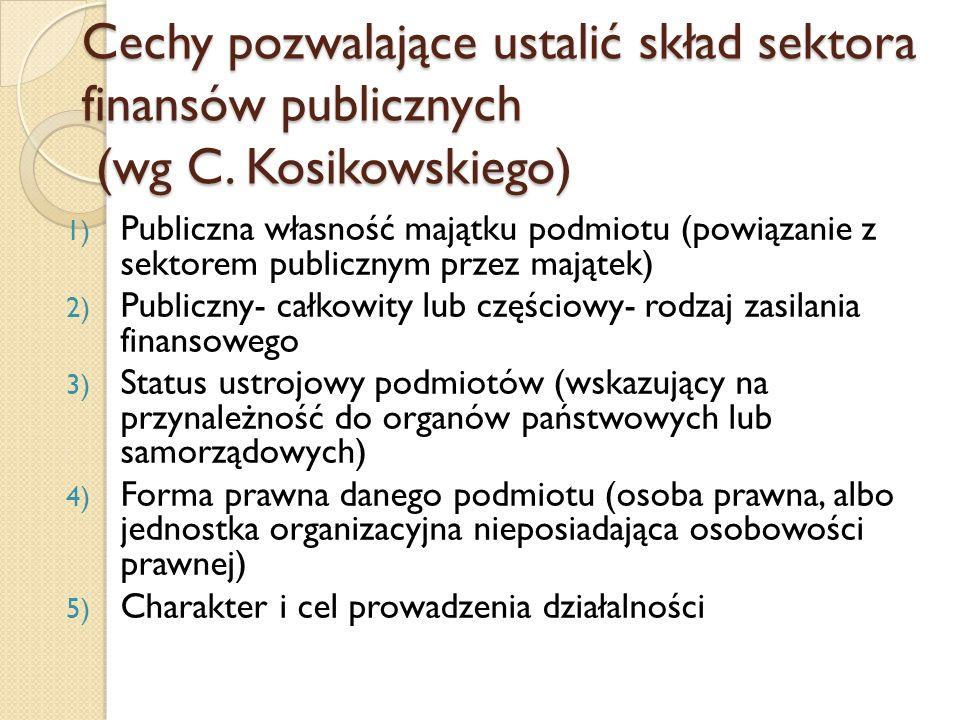Cechy pozwalające ustalić skład sektora finansów publicznych (wg C