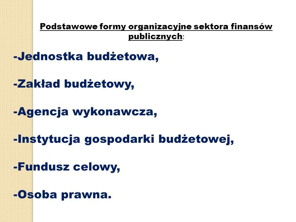 Podstawowe formy organizacyjne sektora finansów publicznych: