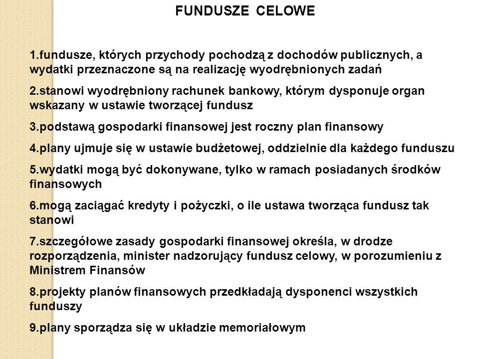 FUNDUSZE CELOWE 1.fundusze, których przychody pochodzą z dochodów publicznych, a wydatki przeznaczone są na realizację wyodrębnionych zadań.