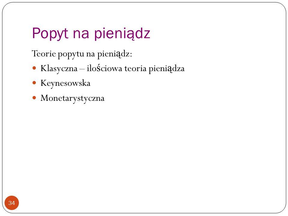Popyt na pieniądz Teorie popytu na pieniądz: