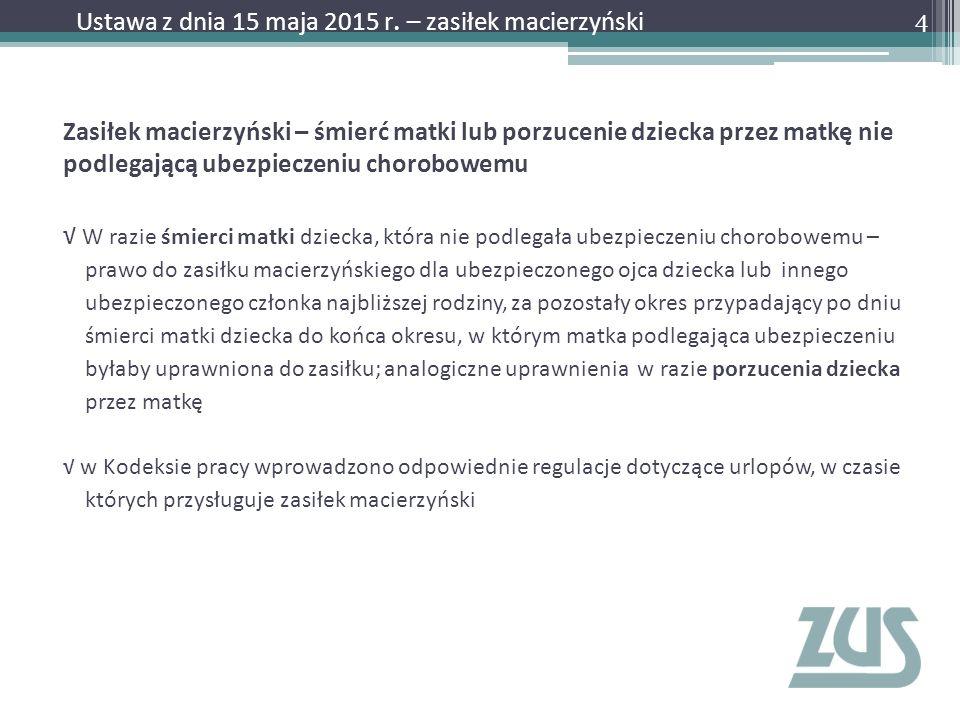 Ustawa z dnia 15 maja 2015 r. – zasiłek macierzyński