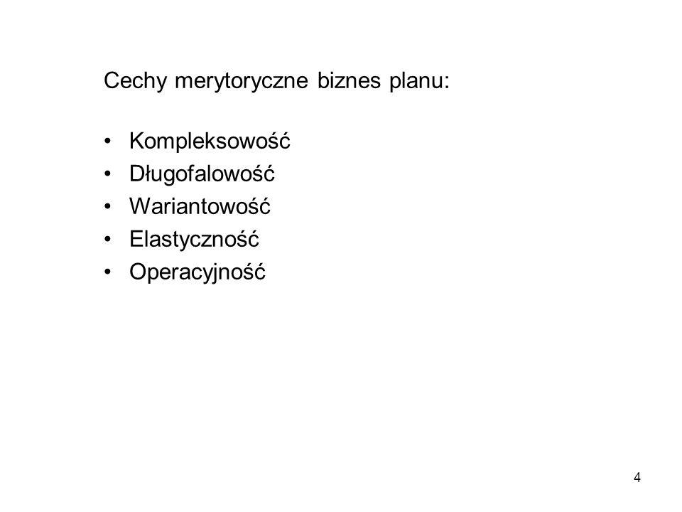 Cechy merytoryczne biznes planu: