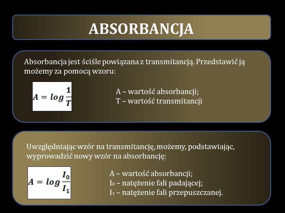 ABSORBANCJA A – wartość absorbancji; T – wartość transmitancji.