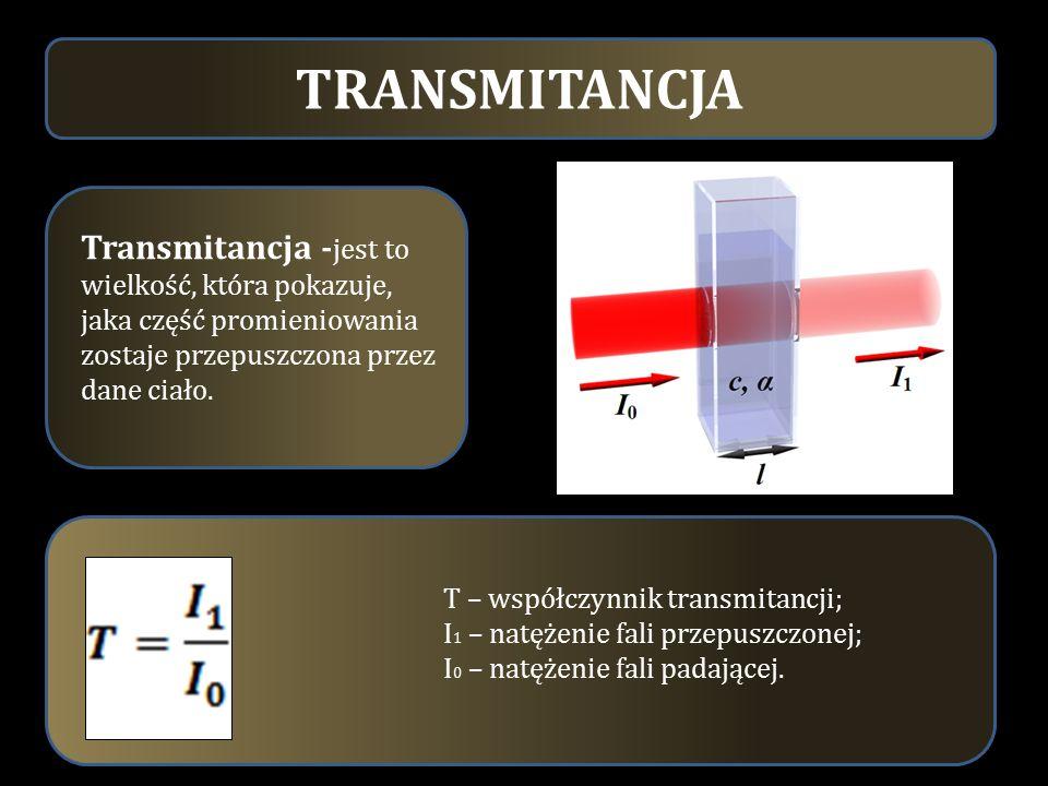 TRANSMITANCJA Transmitancja -jest to wielkość, która pokazuje, jaka część promieniowania zostaje przepuszczona przez dane ciało.