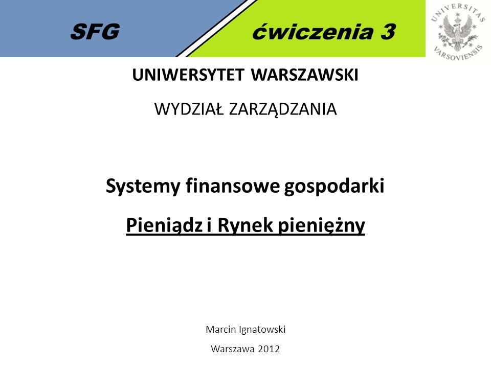 Systemy finansowe gospodarki Pieniądz i Rynek pieniężny