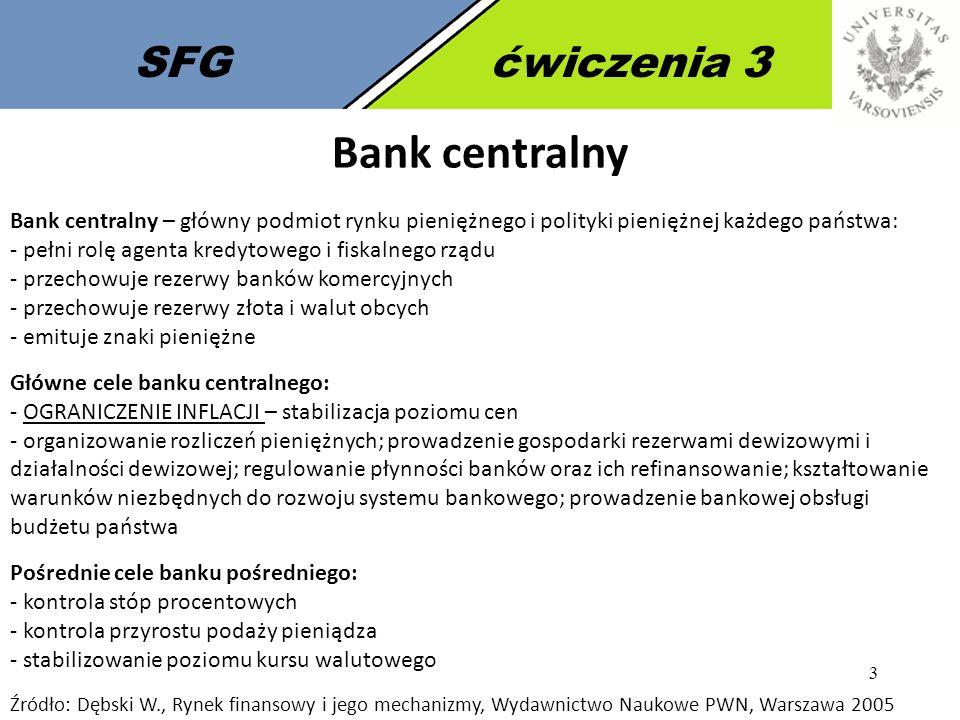 Bank centralny SFG ćwiczenia 3