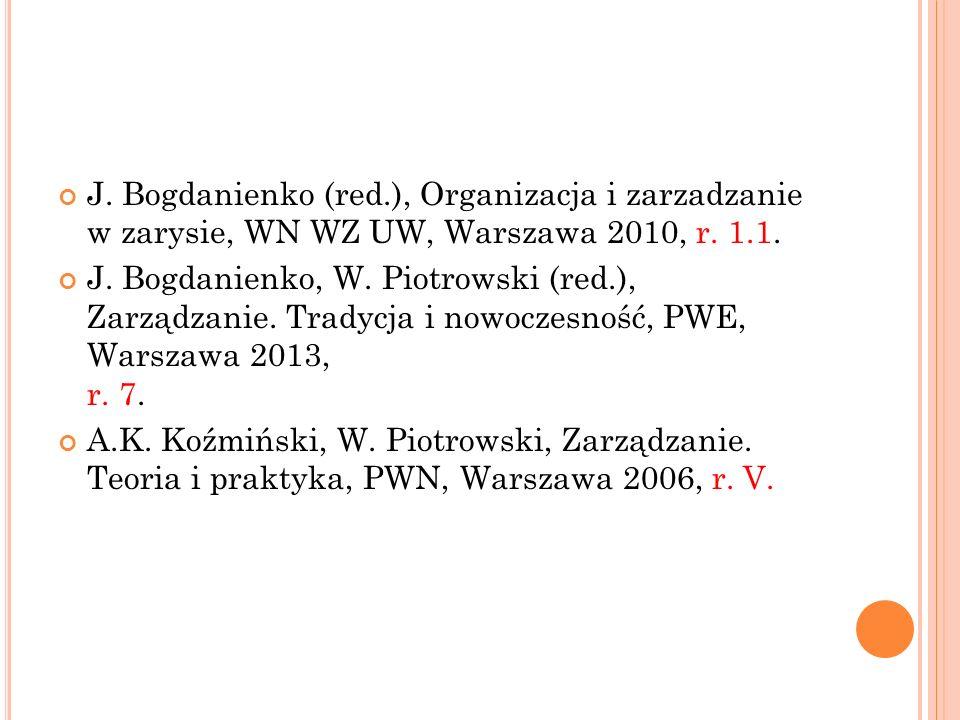 J. Bogdanienko (red.), Organizacja i zarzadzanie w zarysie, WN WZ UW, Warszawa 2010, r. 1.1.