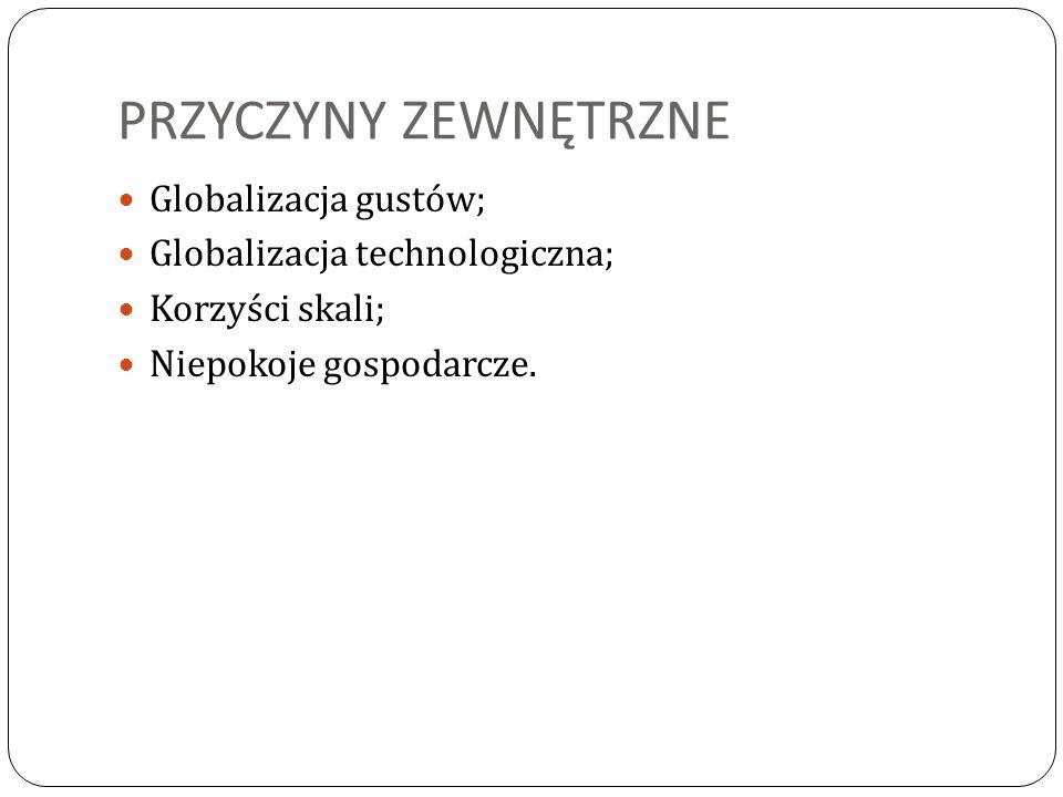 PRZYCZYNY ZEWNĘTRZNE Globalizacja gustów; Globalizacja technologiczna;