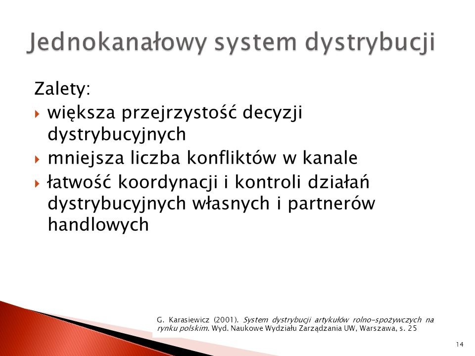 Jednokanałowy system dystrybucji