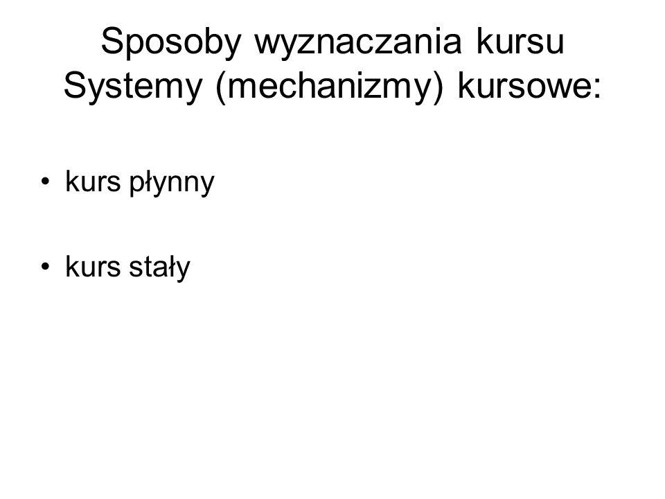 Sposoby wyznaczania kursu Systemy (mechanizmy) kursowe: