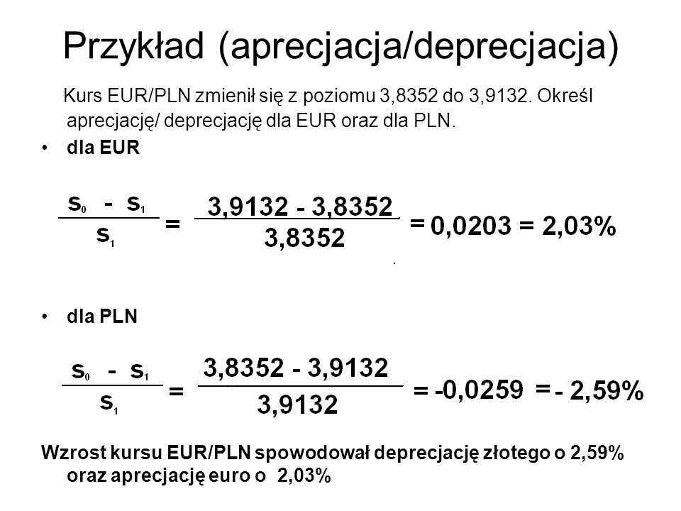 Przykład (aprecjacja/deprecjacja)