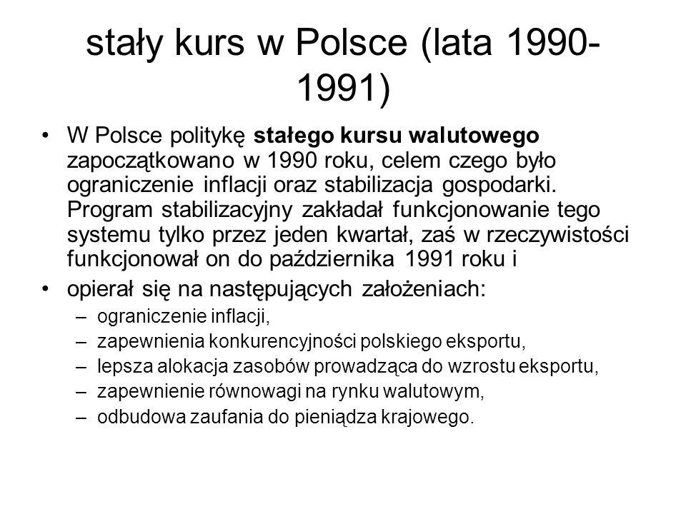 stały kurs w Polsce (lata 1990-1991)