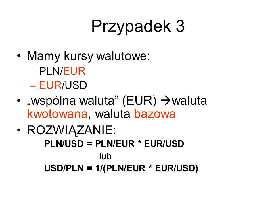 Przypadek 3 Mamy kursy walutowe: