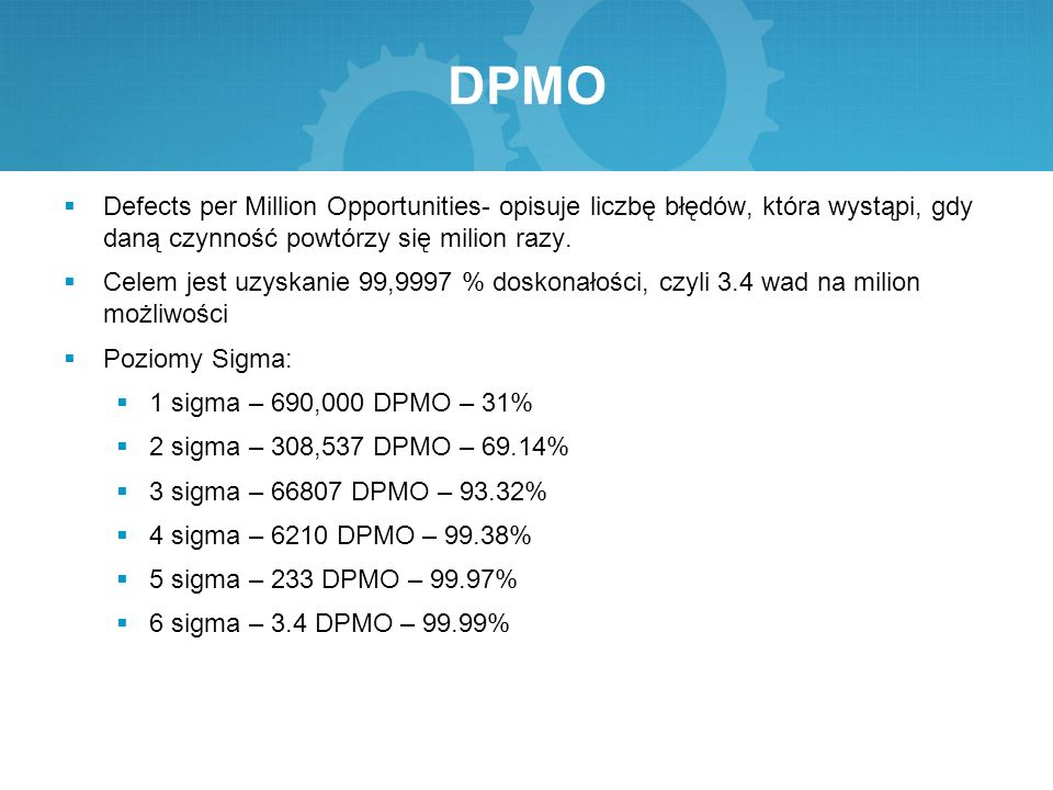 DPMO Defects per Million Opportunities- opisuje liczbę błędów, która wystąpi, gdy daną czynność powtórzy się milion razy.