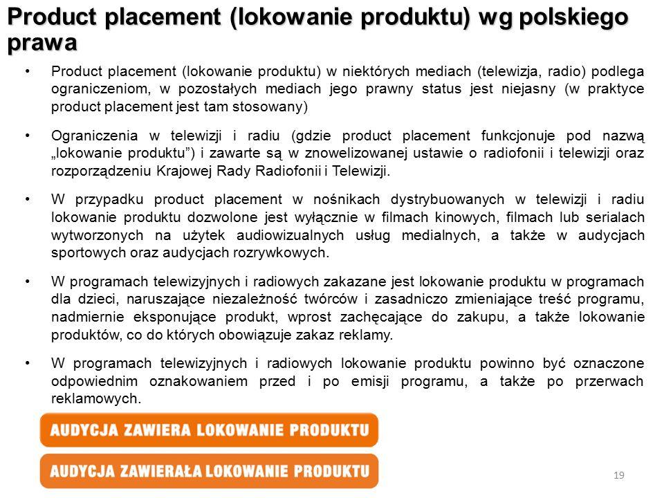 Product placement (lokowanie produktu) wg polskiego prawa