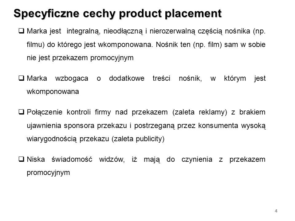 Specyficzne cechy product placement
