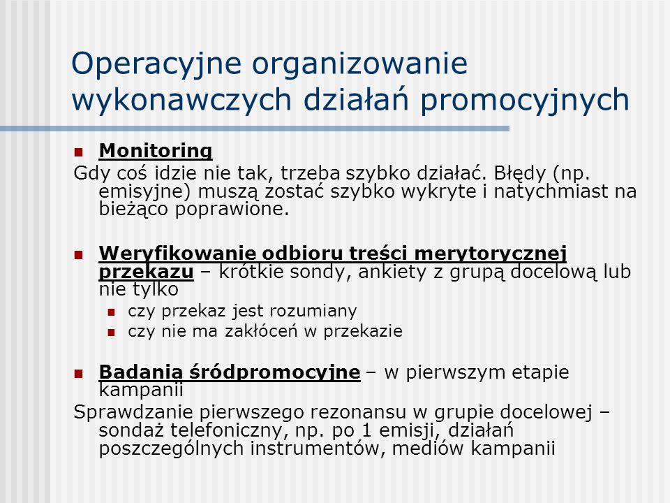 Operacyjne organizowanie wykonawczych działań promocyjnych