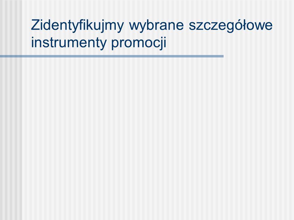 Zidentyfikujmy wybrane szczegółowe instrumenty promocji
