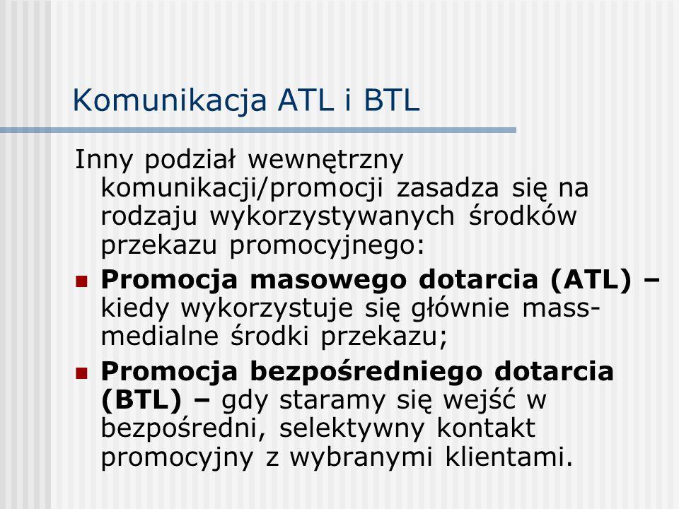Komunikacja ATL i BTL Inny podział wewnętrzny komunikacji/promocji zasadza się na rodzaju wykorzystywanych środków przekazu promocyjnego:
