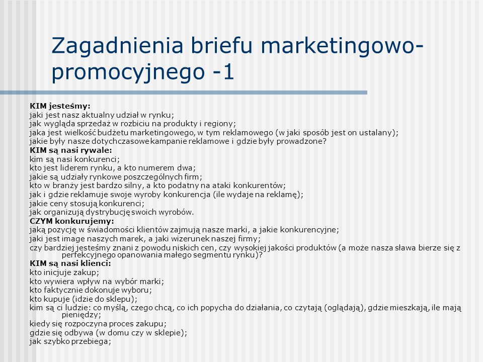 Zagadnienia briefu marketingowo-promocyjnego -1