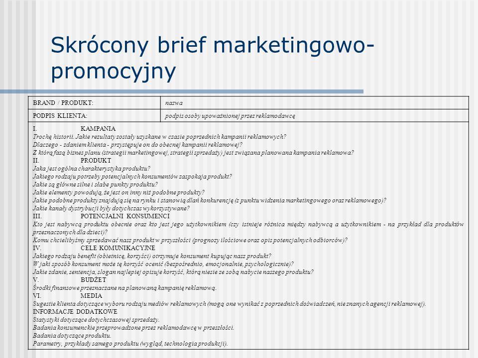 Skrócony brief marketingowo-promocyjny