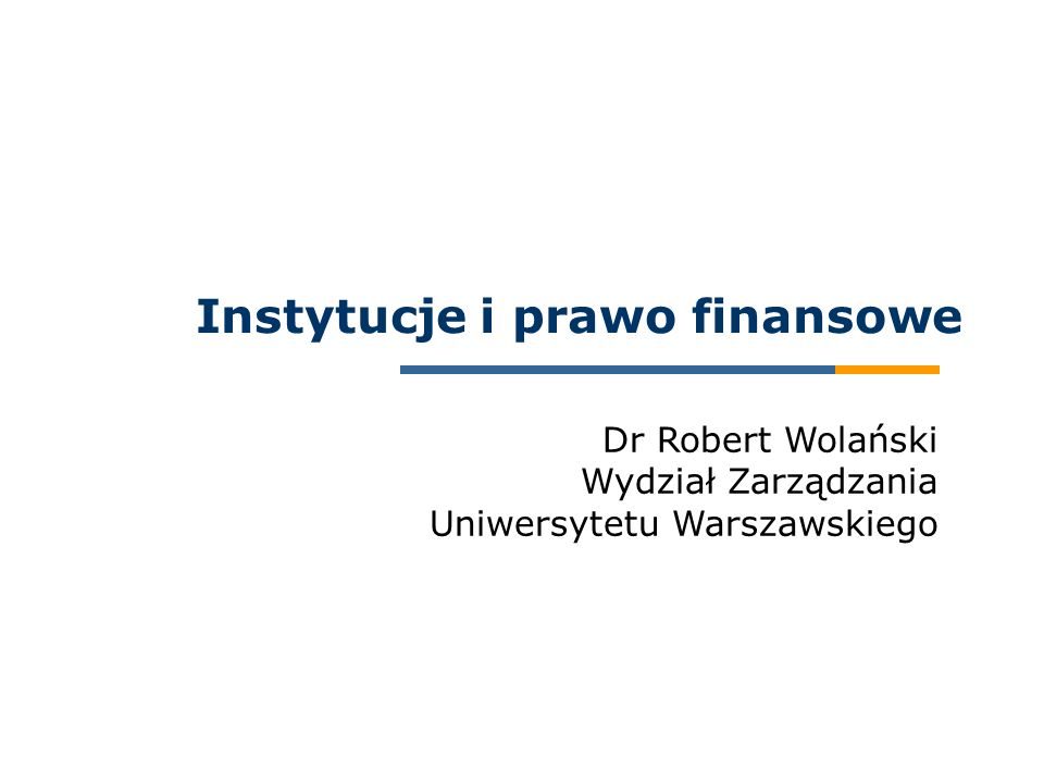 Instytucje i prawo finansowe