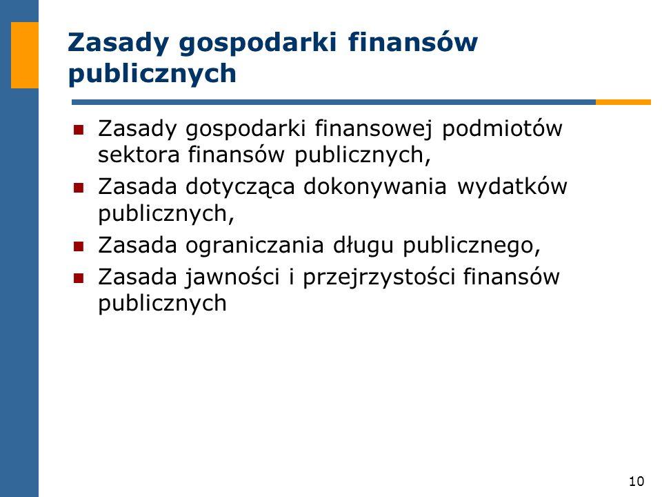 Zasady gospodarki finansów publicznych