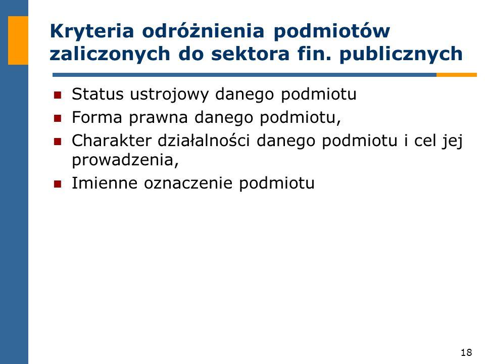 Kryteria odróżnienia podmiotów zaliczonych do sektora fin. publicznych