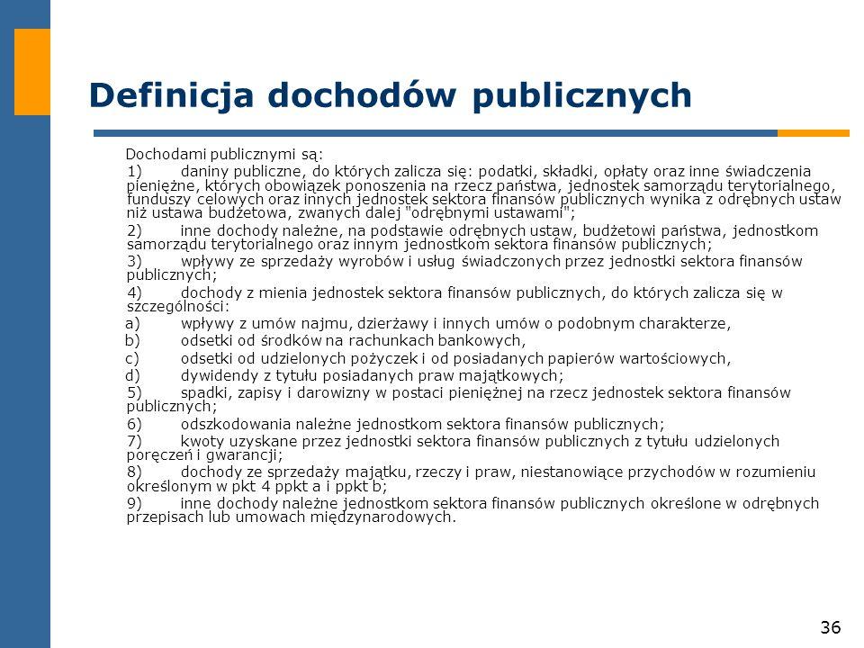 Definicja dochodów publicznych