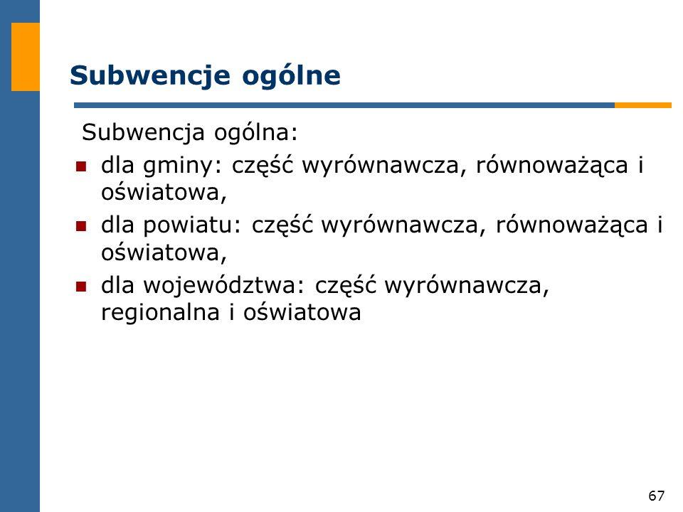 Subwencje ogólne Subwencja ogólna: dla gminy: część wyrównawcza, równoważąca i oświatowa, dla powiatu: część wyrównawcza, równoważąca i oświatowa,