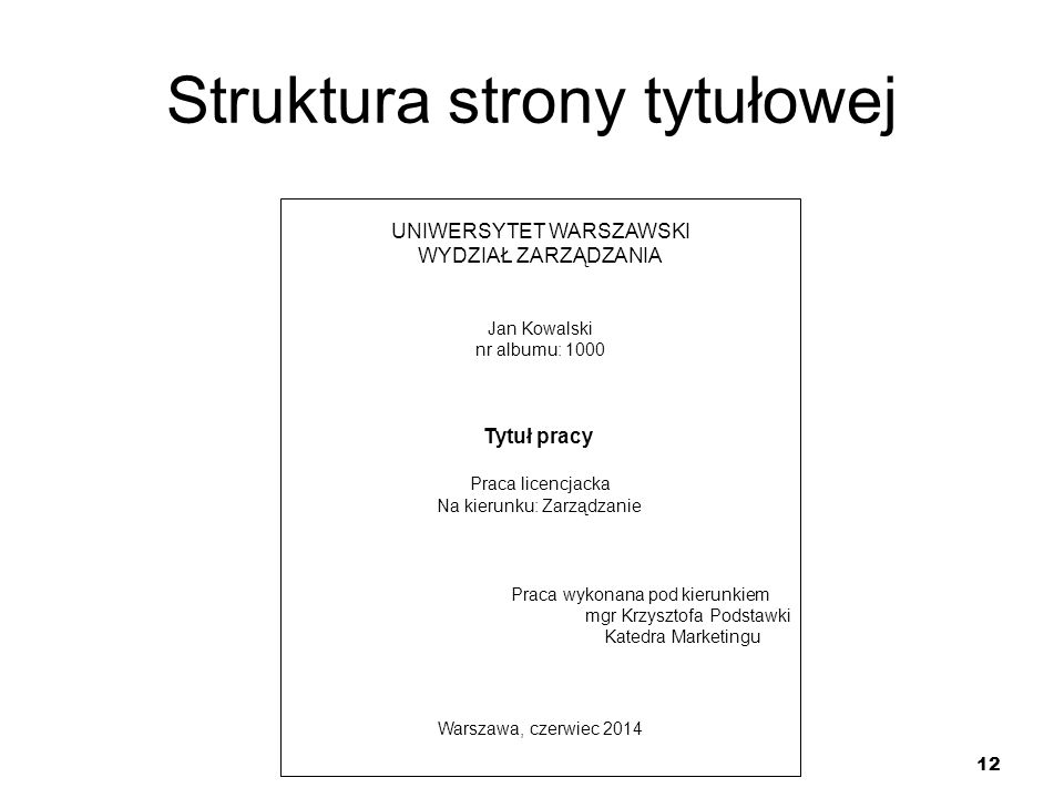 Struktura strony tytułowej
