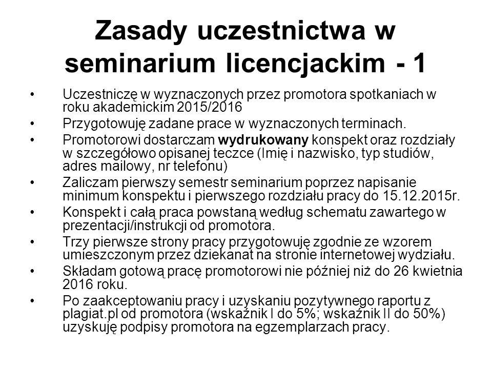 Zasady uczestnictwa w seminarium licencjackim - 1