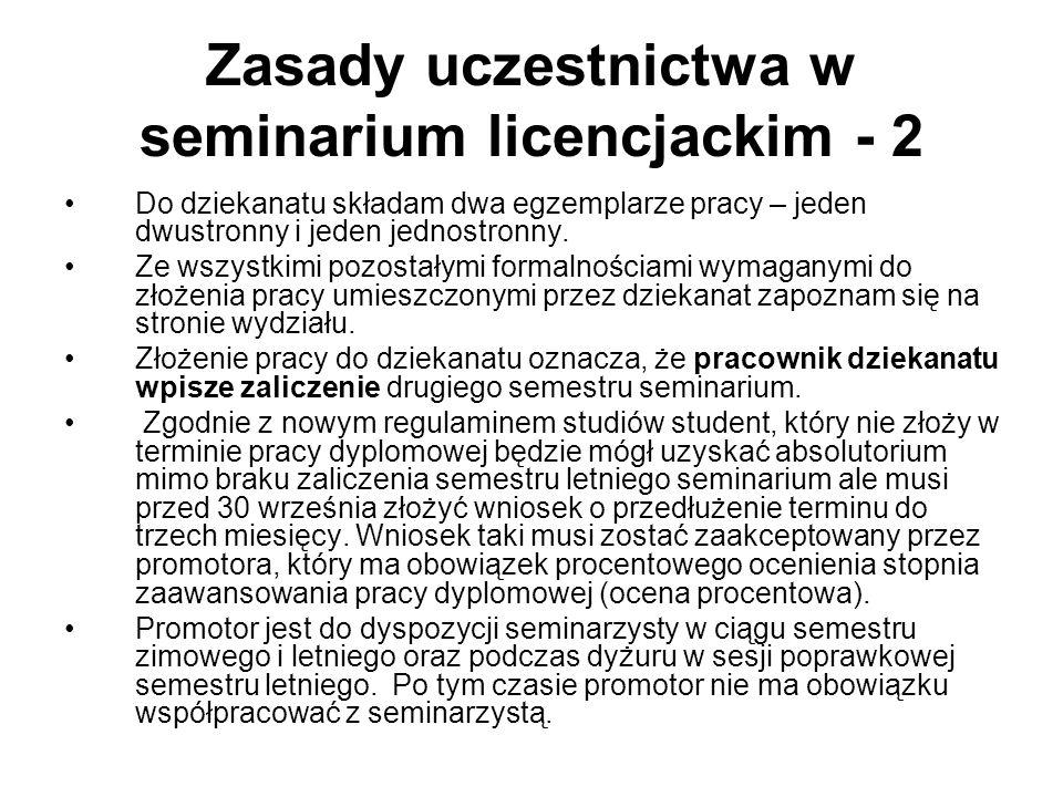 Zasady uczestnictwa w seminarium licencjackim - 2