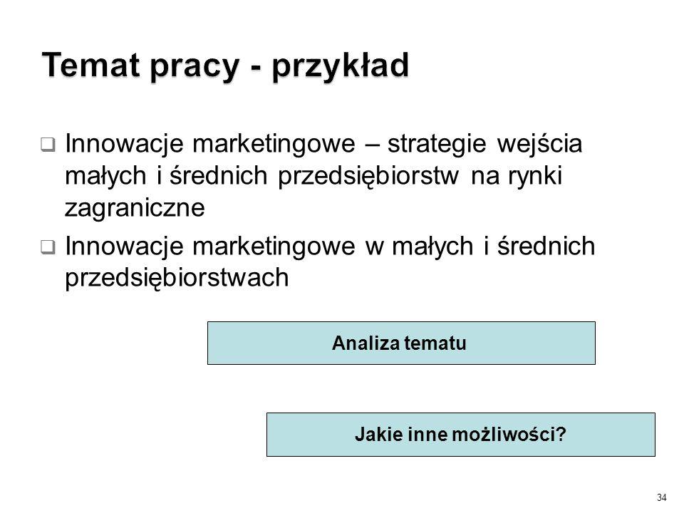 Temat pracy - przykład Innowacje marketingowe – strategie wejścia małych i średnich przedsiębiorstw na rynki zagraniczne.