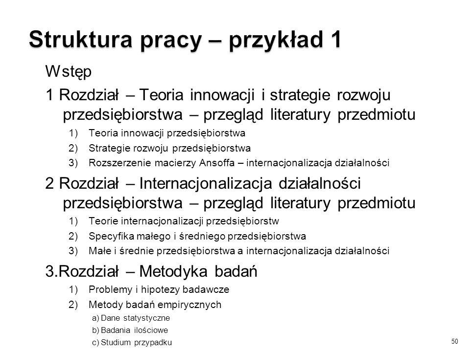 Struktura pracy – przykład 1