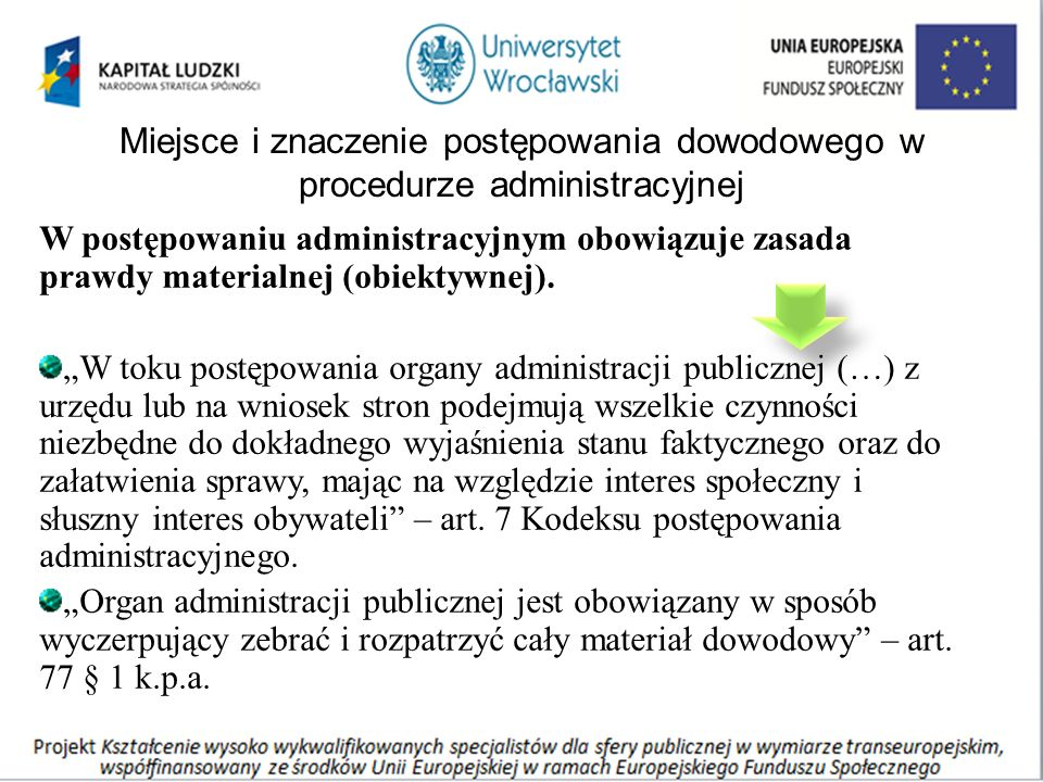 Miejsce i znaczenie postępowania dowodowego w procedurze administracyjnej