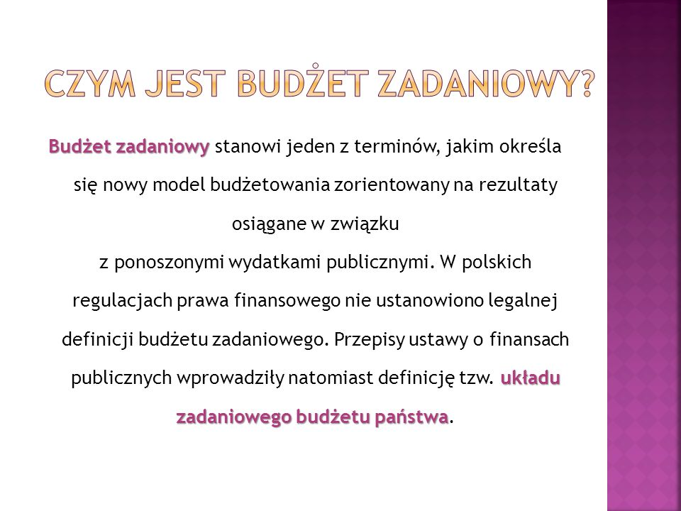 Czym jest budżet zadaniowy