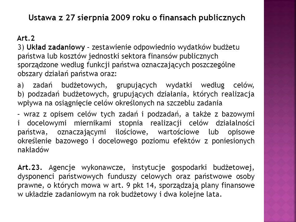 Ustawa z 27 sierpnia 2009 roku o finansach publicznych Art