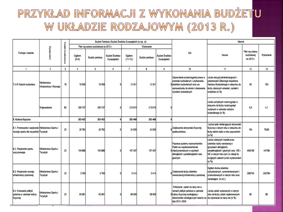 Przykład informacji z wykonania budżetu w układzie rodzajowym (2013 r