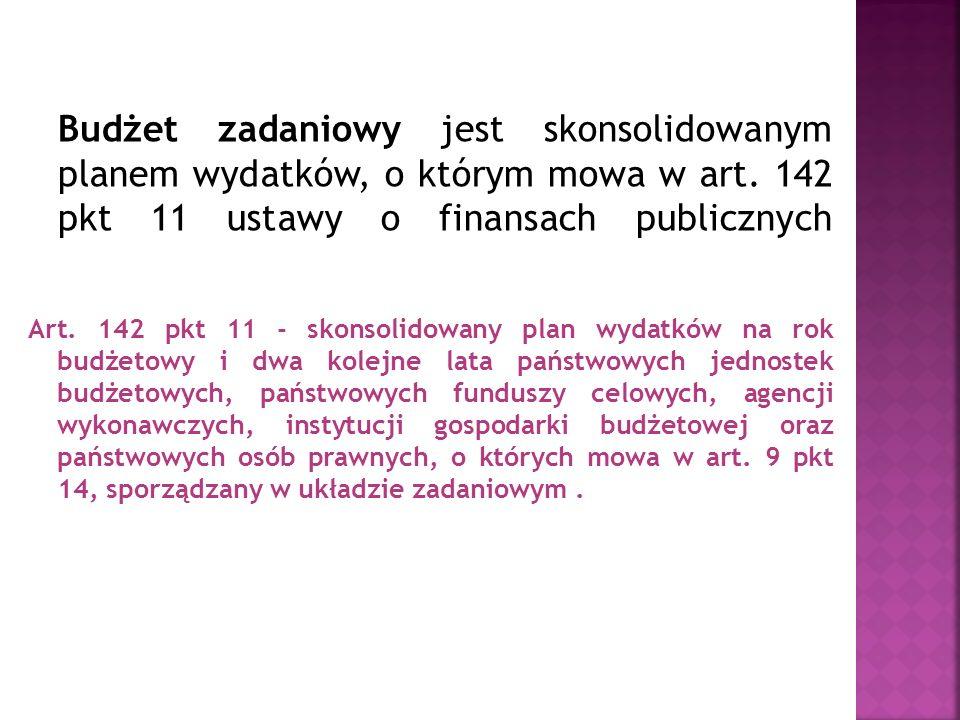 Budżet zadaniowy jest skonsolidowanym planem wydatków, o którym mowa w art. 142 pkt 11 ustawy o finansach publicznych