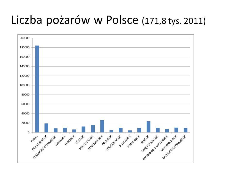 Liczba pożarów w Polsce (171,8 tys. 2011)