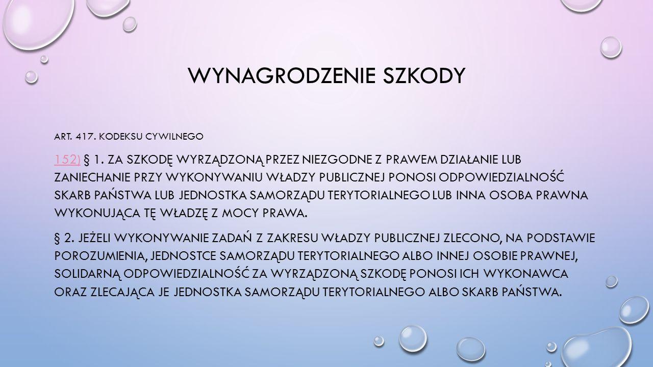 Wynagrodzenie szkody Art. 417. Kodeksu Cywilnego.