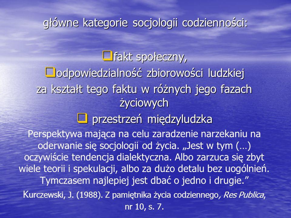 główne kategorie socjologii codzienności: