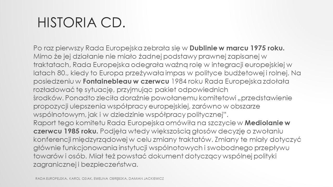 Historia cd. Po raz pierwszy Rada Europejska zebrała się w Dublinie w marcu 1975 roku.