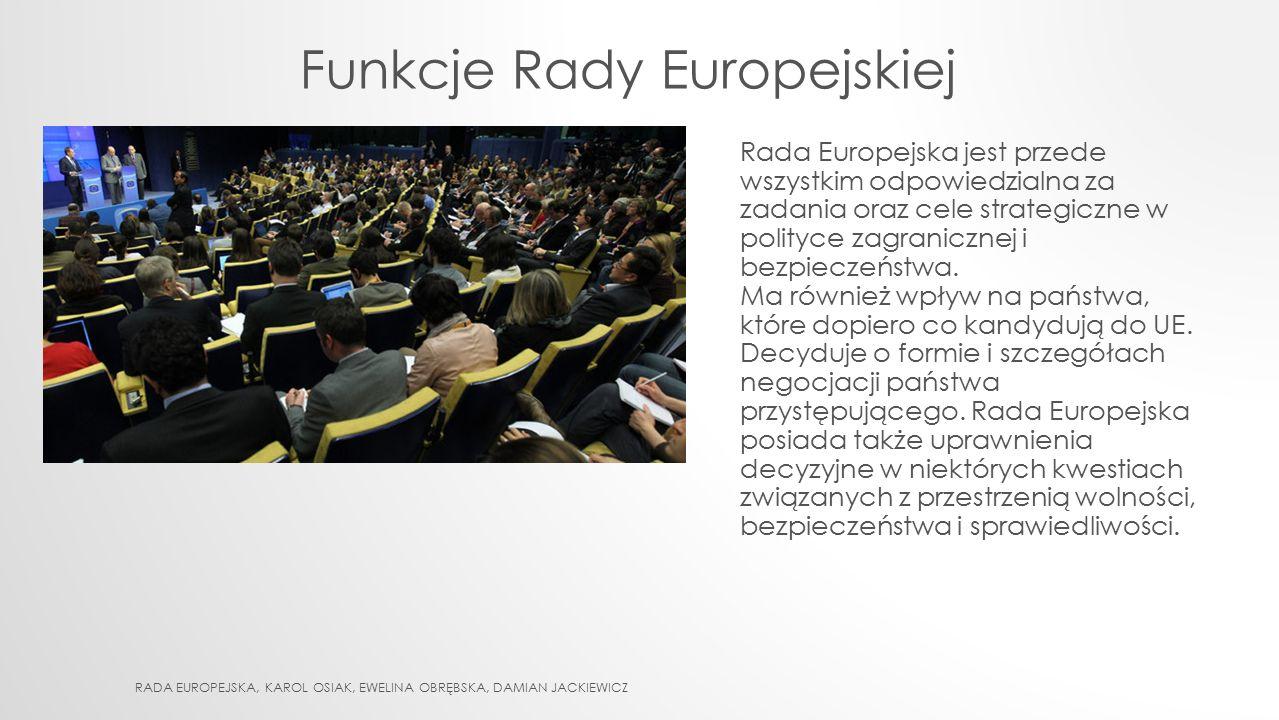 Funkcje Rady Europejskiej