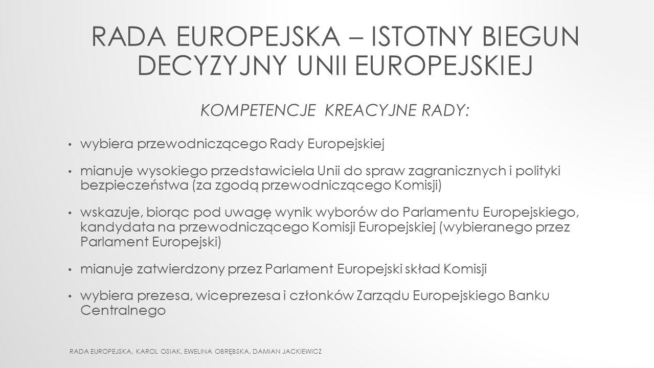 Rada europejska – istotny biegun decyzyjny Unii Europejskiej KOMPETENCJE kreacyjne RADy: